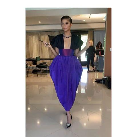 """<p>Zendaya is a Christopher John Roger dress, Christian Louboutin shoes, and Bulgari jewelry. </p><p><a href=""""https://www.instagram.com/p/CFXyVryjsUS/"""">See the original post on Instagram</a></p>"""
