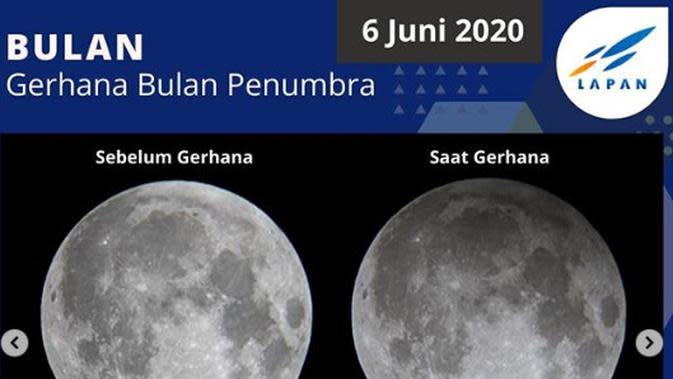 6 Juni: Gerhana Bulan Penumbra. (Instagram pussainsa_lapan/mreclipse.com)