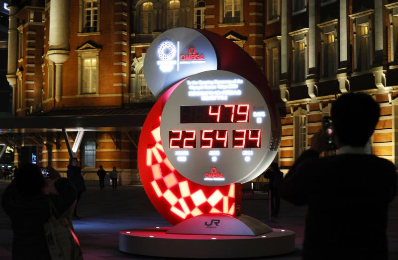 The countdown clock is shown at Tokyo 2020 Countdown Clock in front of Tokyo Station in Tokyo Monday, March 30, 2020. Tokyo organizers said Monday the opening ceremony will take place on July 23, 2021. (Kyodo News via AP)