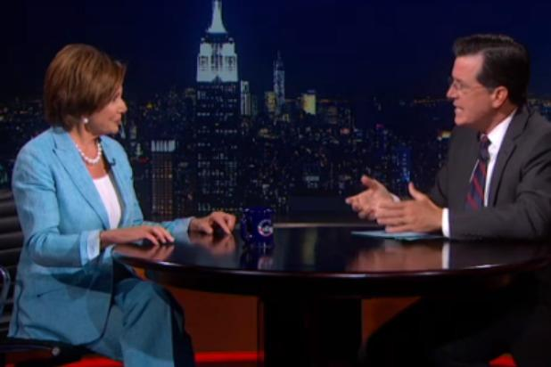 Stephen Colbert Asks 'Nemesis' Nancy Pelosi If She Has Naked Pictures of John Boehner (Video)