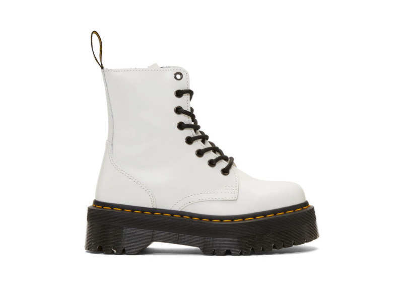 Dr. Martens White Jadon Retro Quad Boots. Image via Ssense.