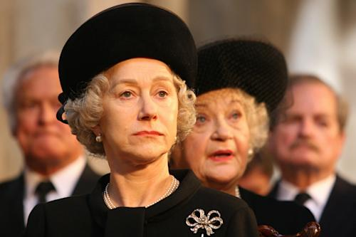 "FILE - In this undated file photo originally provided by Miramax Films, Helen Mirren portrays Queen Elizabeth II in a scene from ""The Queen."" Queen Elizabeth II has been portrayed only a few times major films, but they've been indelible; ""The Queen,"" ""The King's Speech,"" and ""The Naked Gun: From the Files of Police Squad!"". (AP Photo/Miramax Films, Laurie Sparham, file)"