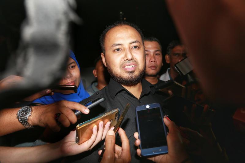 Perak PKR chairman Farhash Wafa Salvador Rizal Mubarak speaks to media as he leaves Anwar Ibrahim house in Segambut February 23, 2020. — Picture by Ahmad Zamzahuri