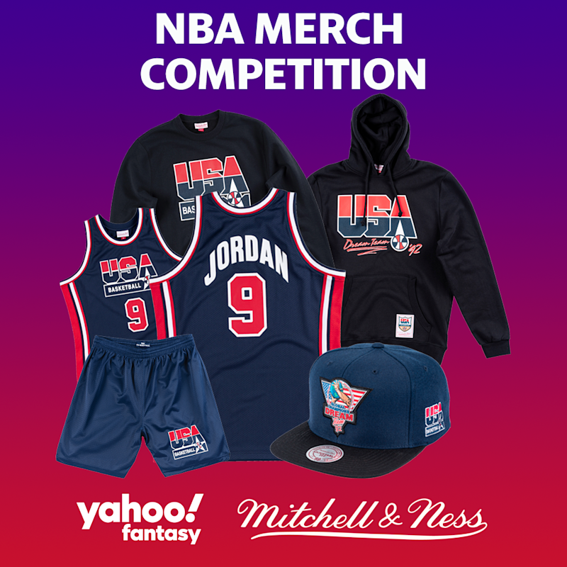 Picture here are a hoodie, sweatshirt, Michael Jordan jersey, and snapback hat from the Mitchell and Ness Dream Team collection that could be won if you play Yahoo Fantasy NBA basketball.