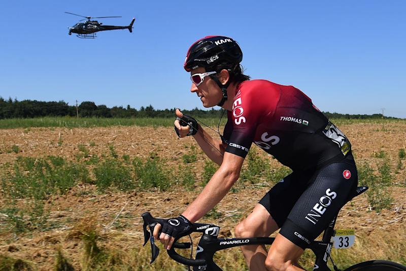 CEYZERIAT FRANCE AUGUST 07 Geraint Thomas of The United Kingdom and Team INEOS Helicopter during the 32nd Tour de LAin 2020 Stage 1 a 140km stage from MontralLaCluse to Ceyzriat 304m tourdelain TOURDELAIN TDA on August 07 2020 in Ceyzeriat France Photo by Justin SetterfieldGetty Images