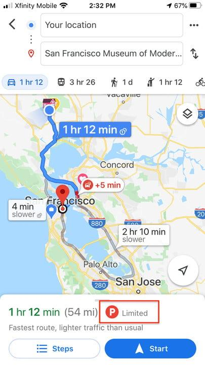 Google Maps parking check
