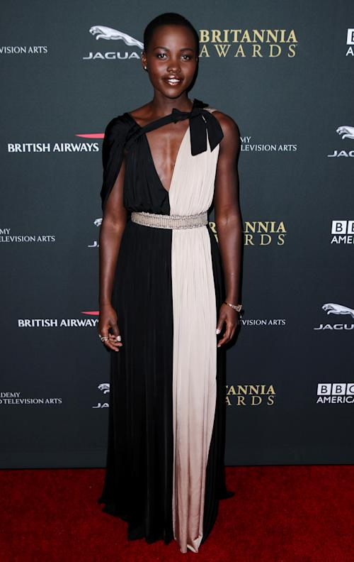 Lupita Nyong'o arrives at the 2013 BAFTA Los Angeles Britannia Awards at the Beverly Hilton Hotel on Saturday, Nov. 9, 2013 in Beverly Hills, Calif. (Photo by Matt Sayles/Invision/AP)