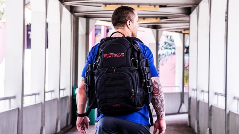 Backpacks make for a terrific makeshift training tool. (PHOTO: Evolve MMA)