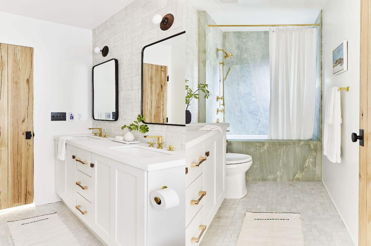 """<p>With a simple shift in the tub and toilet area of <a href=""""https://stylebyemilyhenderson.com/blog/mountain-house-reveal-the-hall-modern-bath-reveal"""" target=""""_blank"""">this kids' bathroom</a>, designer Emily Henderson freed up space for a double vanity and extra storage. Plus, she gave it a playful, contemporary look that makes the room bright and airy.</p>"""