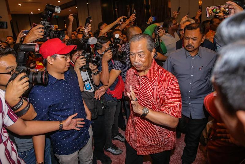 PPBM today announced that it is nominating party president Tan Sri Muhyiddin Yassin (centre) as the next prime minister of Malaysia. — Picture by Hari Anggara