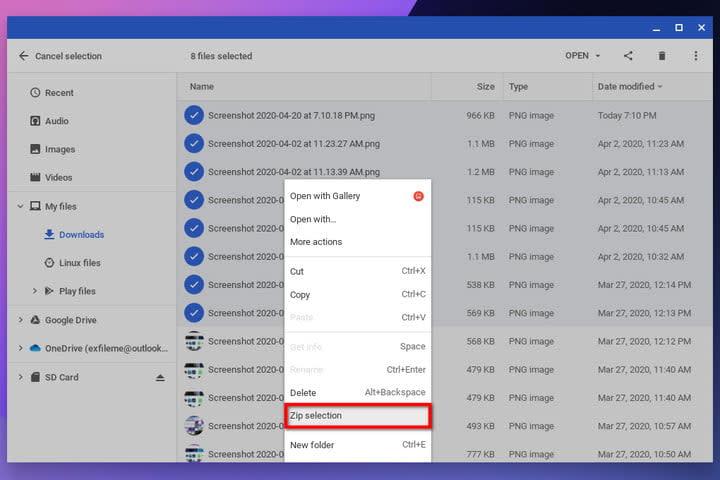 Chrome OS Zip Selection
