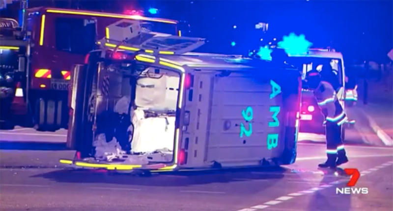 Adelaide Westbourne Park patient dies metres from hospital after his ambulance and another car crashed.
