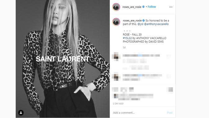 Rose BLACKPINK didaulat menjadi wajah global Saint Laurent. (dok. Instagram @roses_are_rosie/https://www.instagram.com/p/CCCXX6RB131/