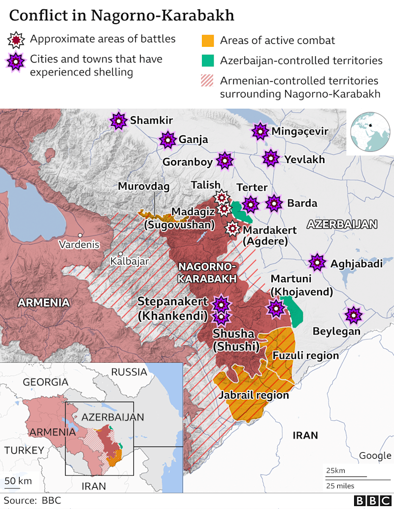 Map showing areas of fighting in the conflict