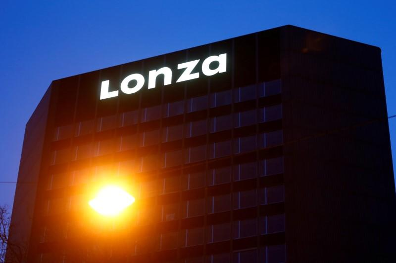 FILE PHOTO: Logo of Swiss pharmaceutical group Lonza is seen in Basel