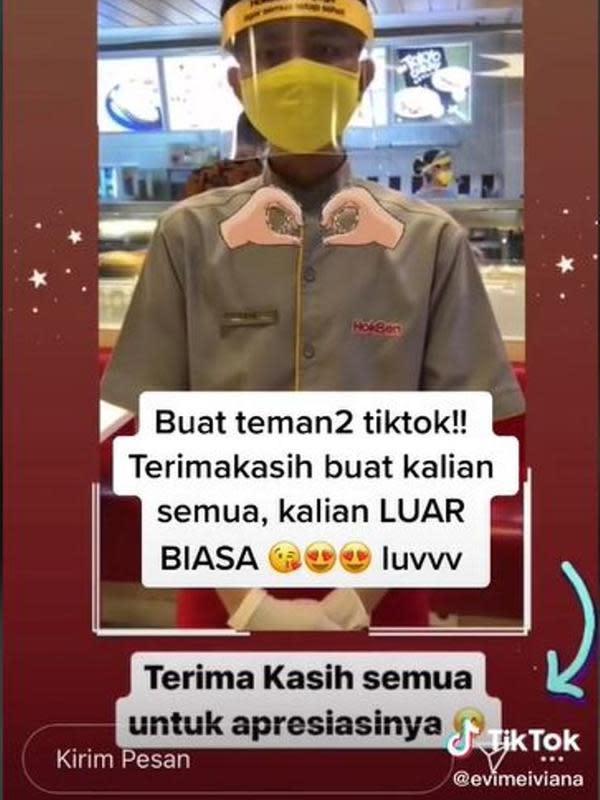 Viral di Tiktok, Karyawan Hokben Tetap Tenang Meski Dimarahi Konsumen. (dok. TikTok @evimeiviana/https://www.tiktok.com/@evimeiviana/video/6867182793806449922/Henry)