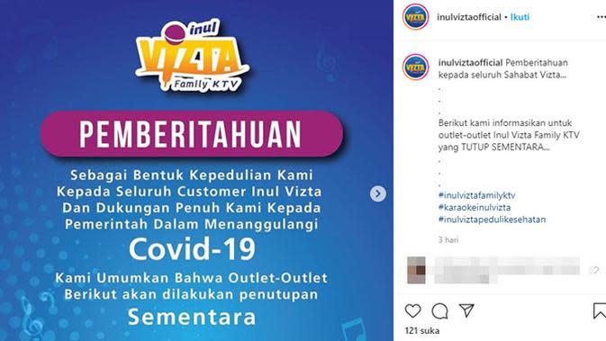 Sederet selebriti Tanah Air yang tutup sementera usaha dan bisnis akibat COVID-19. (Sumber: Instagram/@inulvistaofficial)