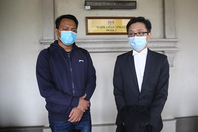 Aiman and his lawyer New Sin Yew at the High Court in Kuala Lumpur on August 5, 2020. ― Picture by Yusof Mat Isa