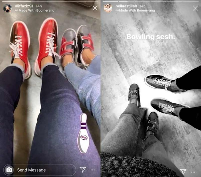 The formerly married couple uploaded the same clip suggesting they were out bowling together. ― Picture via Instagram/Aliff Aziz and Bella Astillah