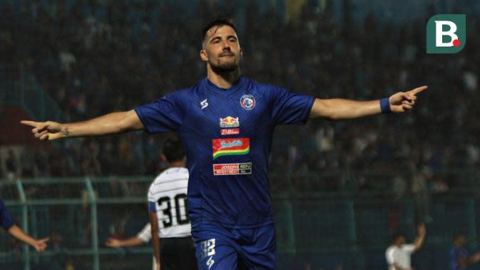 Striker Arema FC, Jonathan Bauman. (Bola.com/Iwan Setiawan)