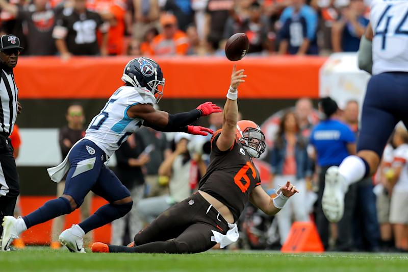 CLEVELAND, OH - SEPTEMBER 08: Cleveland Browns quarterback Baker Mayfield (6) throws as he goes down as Tennessee Titans cornerback Logan Ryan (26) applies pressure during the second quarter of the National Football League game between the Tennessee Titans and Cleveland Browns on September 8, 2019, at FirstEnergy Stadium in Cleveland, OH. (Photo by Frank Jansky/Icon Sportswire via Getty Images)