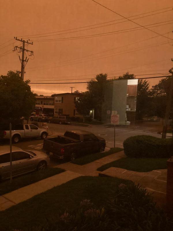 Kebakaran di Californiamembuat Bay Area memerah seperti di Mars. (Tri Sulistyowati/California)