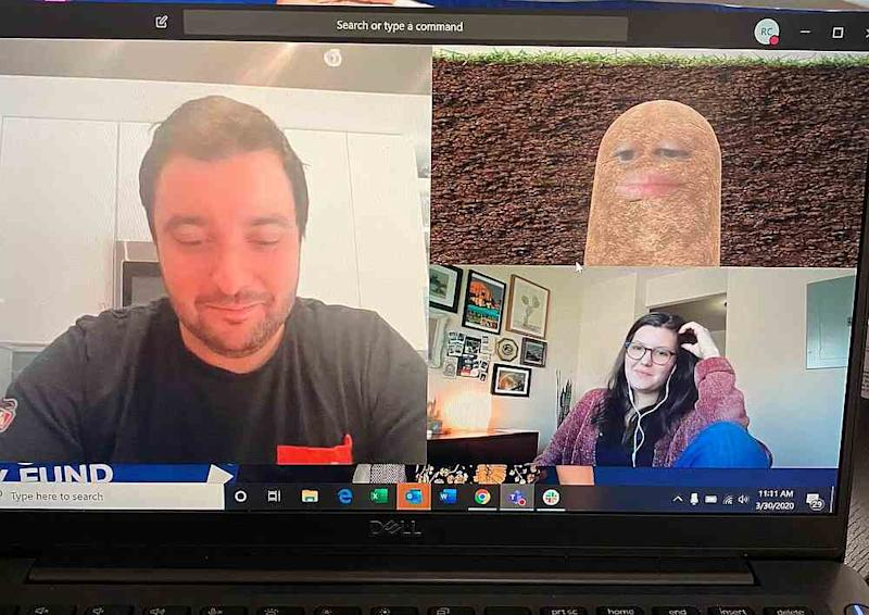 An employee shared a screenshot of her boss transformed into a potato on a videoconference. — Picture via Twitter/PettyClegg
