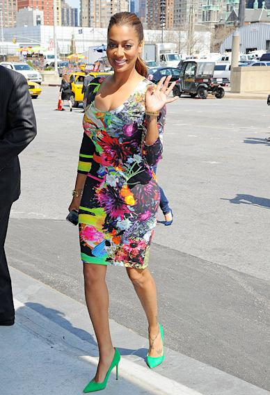 LaLa Vazquez Anthony steps out in the multicolored curve-hugging dress