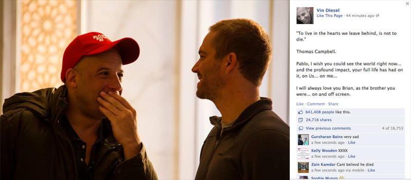 Vin Diesel Posts Touching Tribute to Lost 'Fast & Furious' Co-Star Paul Walker