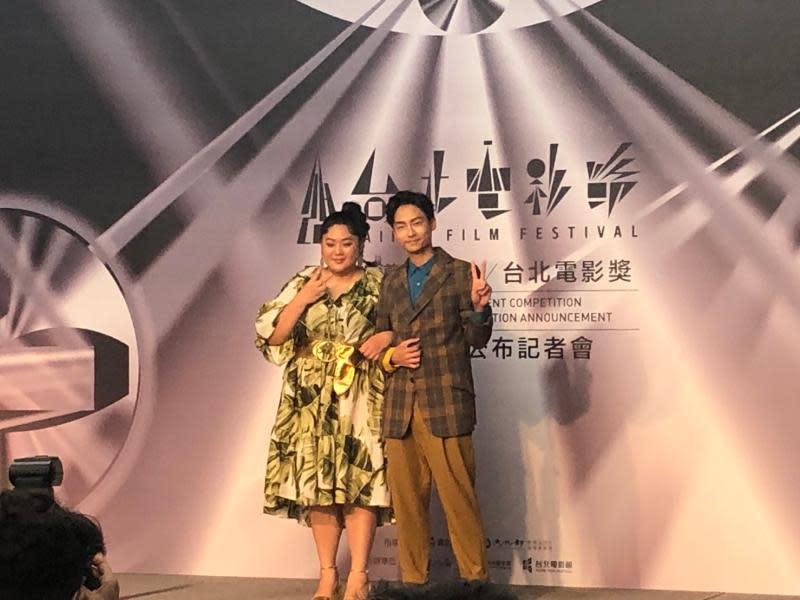 ▲蔡嘉茵(左)、林鶴軒公布台北電影節入圍名單。(圖/記者吳雨婕攝,2020,05.15)