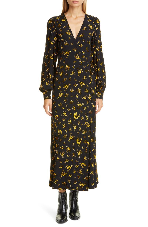 Ganni Floral Print Crepe Long Sleeve Midi Dress. Image via Nordstrom.