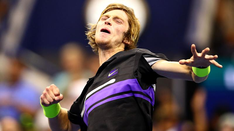 Andrey Rublev, pictured here after beating Nick Kyrgios.