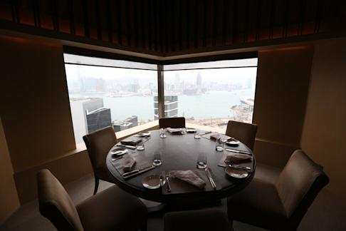 Interior of Cafe Gray Deluxe, at Pacific Place in Admiralty, with a view of Victoria Harbour, on 15 March 2017. Photo: Xiaomei Chen