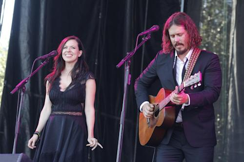 FILE - In this Oct. 14, 2012 file photo, John Paul White, right, and Joy Williams of The Civil Wars perform at the Austin City Limits Music Festival, in Austin, Texas. Williams and White are on hiatus and are not speaking to each other but will release their new self-titled second album on Aug. 6, 2013. (Photo by Jack Plunkett/Invision/AP, File)