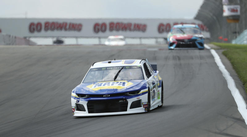 Chase Elliott (9) heads into turn one during a practice run for the NASCAR Cup Series auto race at Watkins Glen International, Saturday, Aug. 3, 2019, in Watkins Glen, New York. (AP Photo/John Munson)