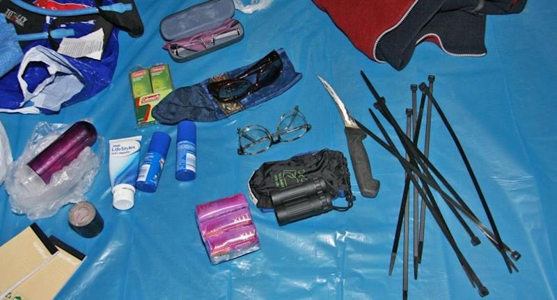 Items found at the campsite including cable ties, lubricant, toiletries, binoculars and several pairs of glasses were found at the campsite.