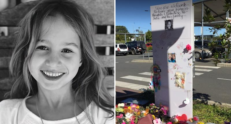 Indie Armstrong (left) died in an accident at a Nambour car park (right)
