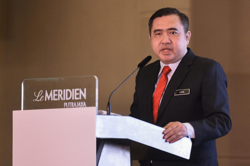 Transport Minister Anthony Loke officiates the Bus Rapid Transit (BRT) Conference in Putrajaya November 19, 2019. — Picture by Miera Zulyana