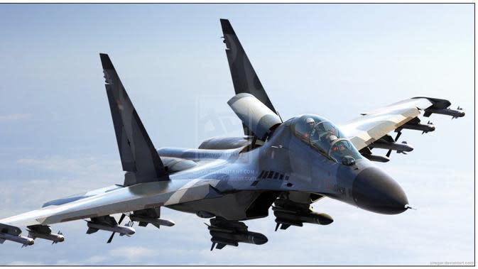 Ilustrasi jet tempur Sukhoi (militerindonesiamy.blogspot.com)