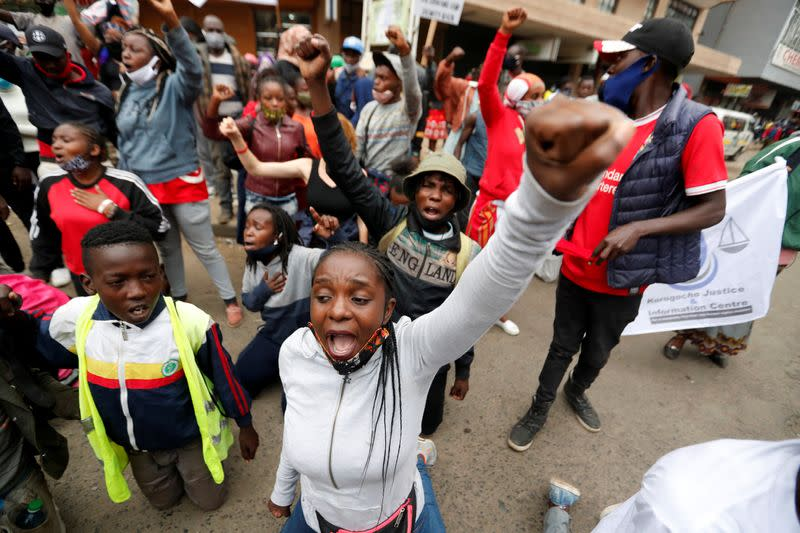 Kenyan police fire teargas, arrest marchers protesting at brutality