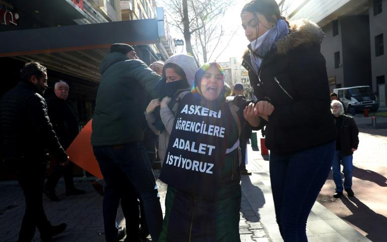 Since her protests began last September, Cetinkaya has been detained nearly 30 times. The picture shows her latest arrest, on February 8