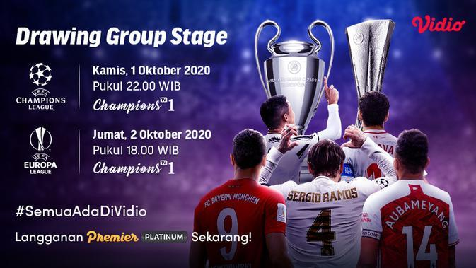 Saksikan Live Streaming Undian Fase Grup Liga Champions dan Liga Europa 2020 / 2021 di Vidio