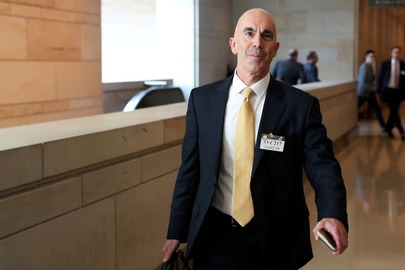 FILE PHOTO: U.S. State Department Inspector General Linick departs after briefing House and Senate Intelligence committees at the U.S. Capitol in Washington