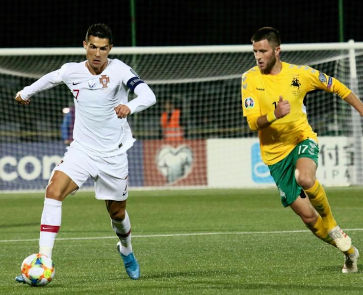 Portugal's Cristiano Ronaldo scored four goals for the second time on the international stage as Portugal hammered Lithuania