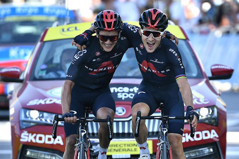 Ineos Grenadiers' Richard Carapaz and Michal Kwiatkowski cross the line together on stage 18 of the 2020 Tour de France, with Kwiatkowski (right) being allowed to edge ahead for the victory