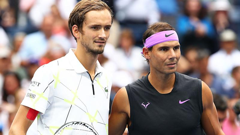 Daniil Medvedev and Rafael Nadal, pictured here before the US Open final.