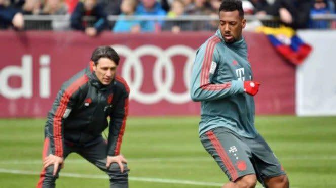 Pelatih Bayern Munich, Niko Kovac, dan bek Bayern Munich, Jerome Boateng.