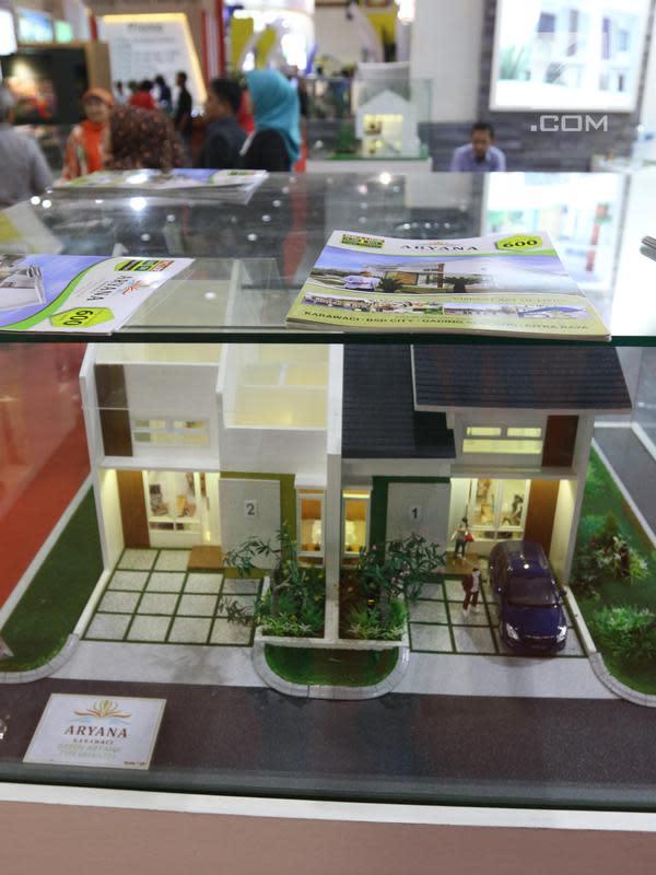 Maket perumahan yang ditawarkan pada sebuah pameran.. (Liputan6.com/Angga Yuniar)