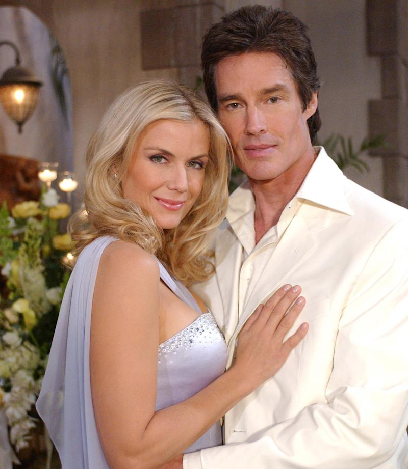 A photo of Katherine Kelly Lang in character as Brooke Logan with her co-star Ronn Moss (Ridge Forrester) on The Bold and the Beautiful set.