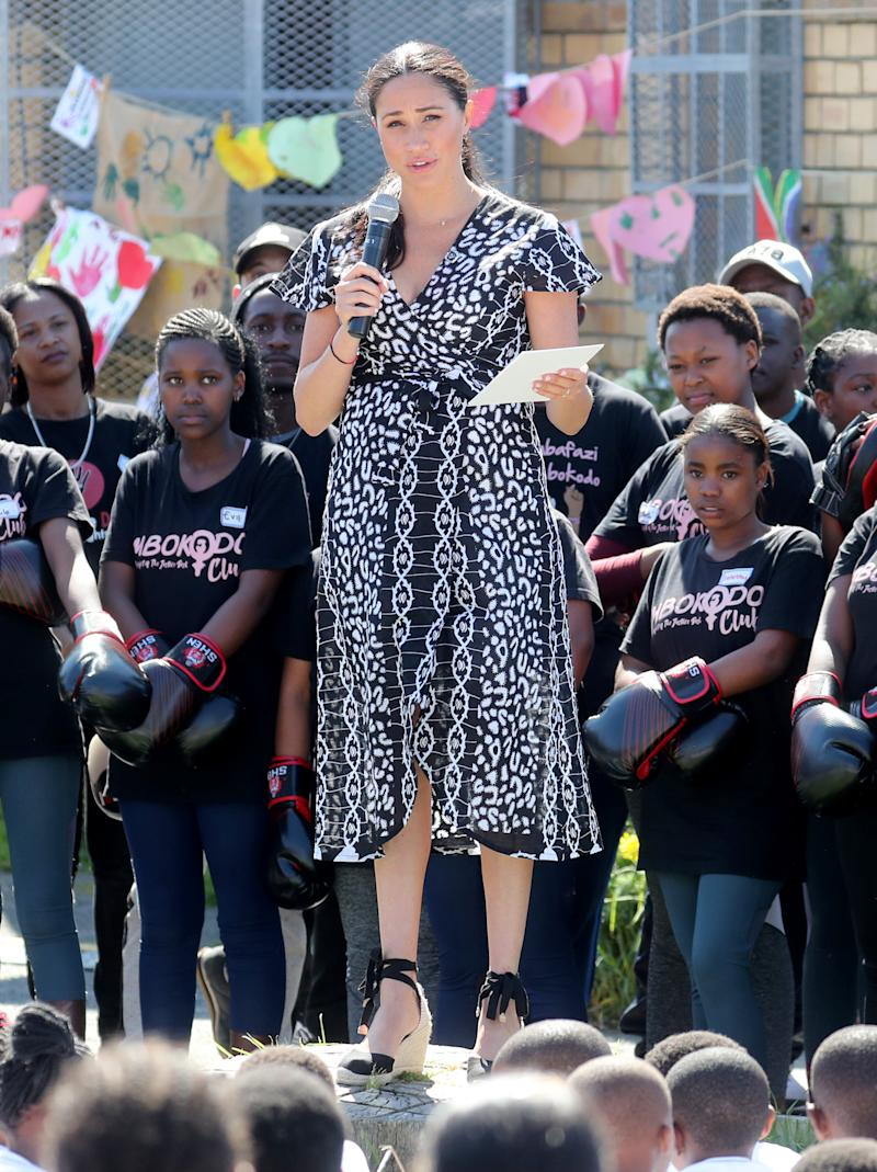 The Duchess of Sussex makes a speech as she visits a Justice Desk initiative in Nyanga. [Photo: Getty Images]